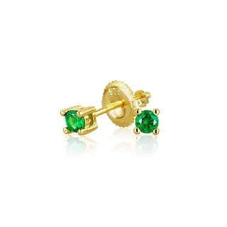 Bling Jewelry Gold Plated Silver Green CZ Kids Screwback Studs