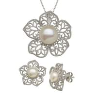 Freshwater Pearl & 1/4 ct Diamond Flower Pendant & Earring Set in Sterling Silver