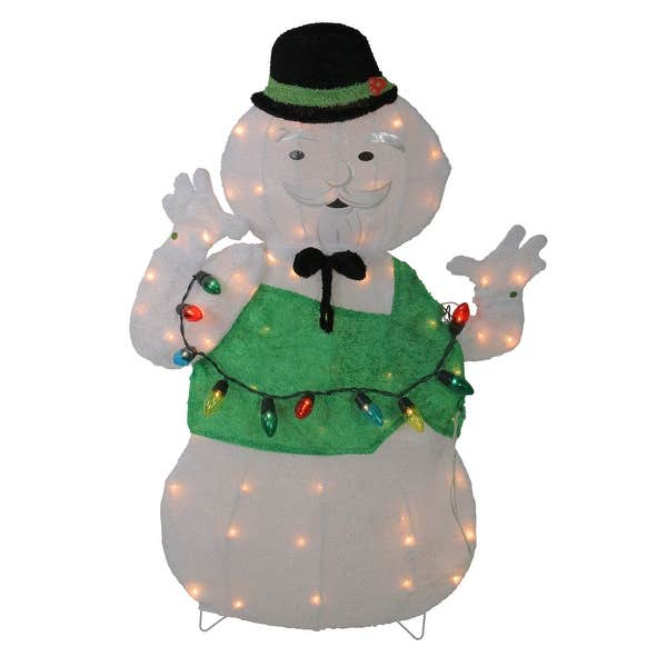 Outdoor Snowman Christmas Decorations.33 Lighted White And Green Sam The Snowman Christmas Outdoor Decoration N A
