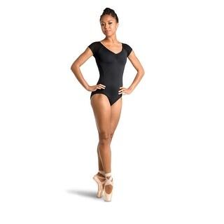 Danshuz Women's Black Contemporary Athletic Style Cap Sleeved Leotard