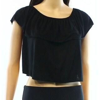 TopShop NEW Black Womens Size 8 Smocked Popover Off-The-Shoulder Blouse