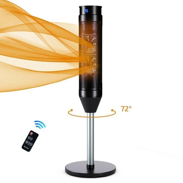 Costway 1500W Portable Oscillating Ceramic Pedestal Heater w/ Timer Remote Control Room