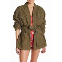 Free People Green Women's Size Large L Open-Front Cargo Jacket