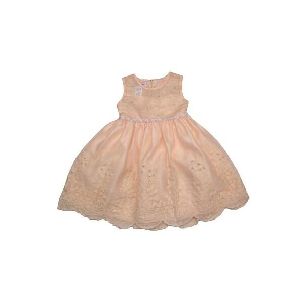 e269cca5e3 Little Girls Champagne Scalloped Hem Embroidered Flower Girl Stylish Dress  6X