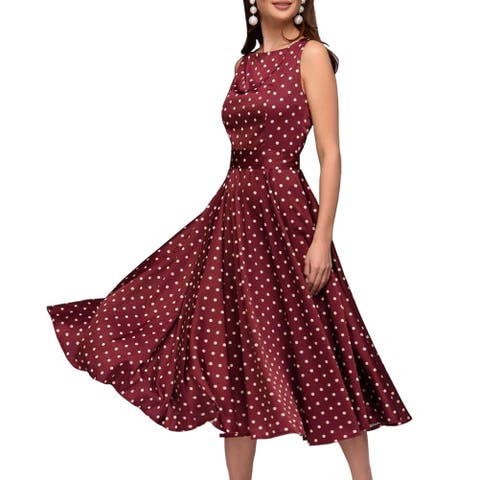 Simple Flavor Women's Vintage Dress Sleeveless O-Neck Party, Red, S