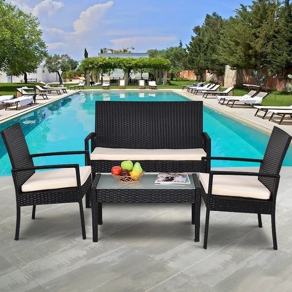Costway 4 PCS Outdoor Patio Furniture Set Table Chair Sofa Cushioned Seat Garden - as pic