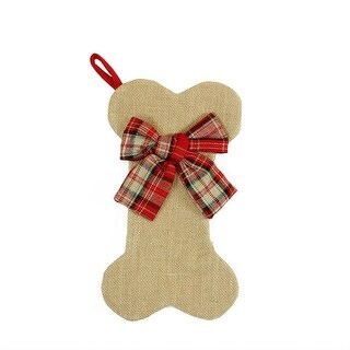 """14"""" Brown Burlap Dog Bone Christmas Stocking with Red Plaid Bow"""