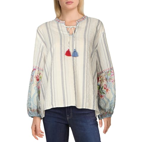 Johnny Was Womens Peasant Top Woven Striped - Blue Multi