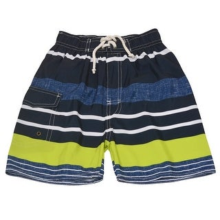 Quad Seven Boys Navy Lime Striped Drawstring Tie Swim Trunks