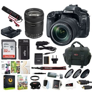 Canon EOS 80D Video Creator Kit with 18-135mm lens and 32GB Deluxe Bundle