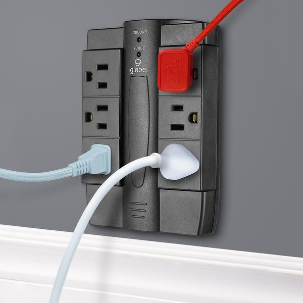 6-Outlet Black Grounded Swivel Surge Protector Wall Tap - 6-Outlet. Opens flyout.
