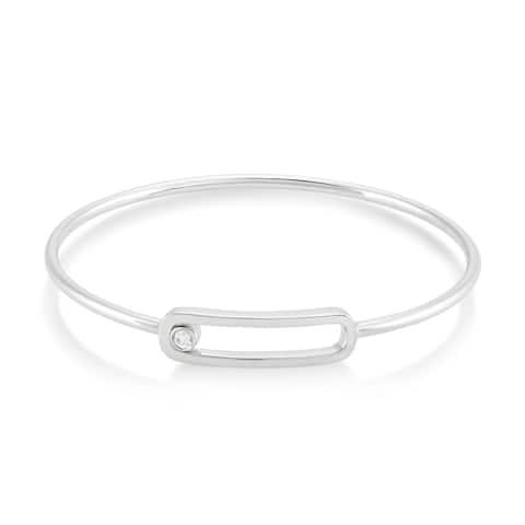925 Sterling Silver 1/10 Carat Diamond Bangle Bracelet for Women