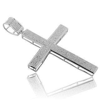 Big Diamond Cross Pendant Mens Cross Charm 1.85ctw 3 Inch Tall (i2/i3, I/j) By MidwestJewellery - White