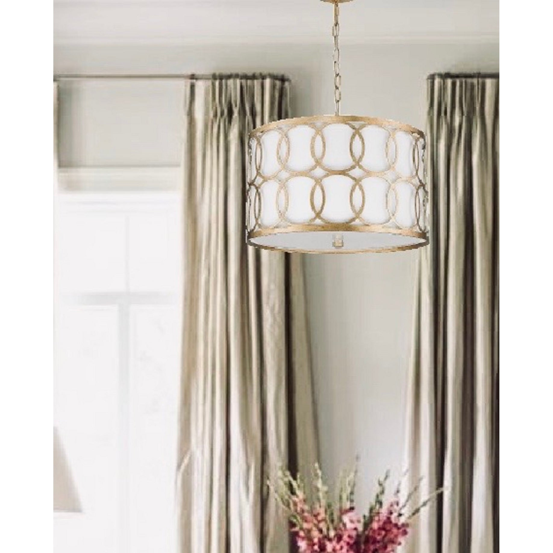 Gold Metal Drum Pendant With Geometric Shape Overstock 31424386