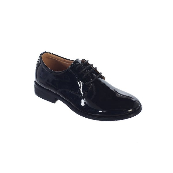 Tip Top Kids Black Shiny Leather Lace