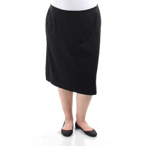 TAHARI Womens Black Below The Knee A-Line Skirt Plus Size: 22W