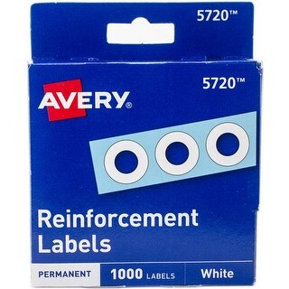 ".25"" Round - Avery White Self-Adhesive Reinforcement Labels 1000/Pkg"