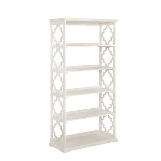 "Powell Home Fashions 14A8082  Turner 36 1/2"" Wide Rubberwood Shelving Unit - White"
