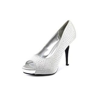 Rampage Gimme Women  Peep-Toe Canvas Silver Heels