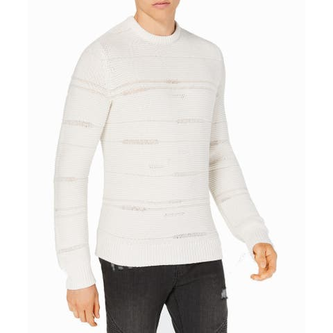 INC White Ivory Mens Size 2XL Crewneck Vintage Knitted Sweater