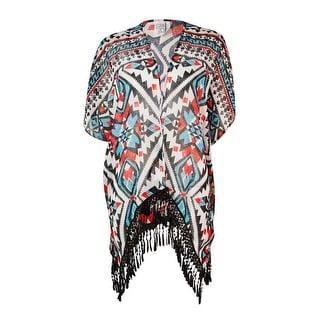 Becca by Rebecca Virtue Women's Tribal Fringed Kimono Swim Cover