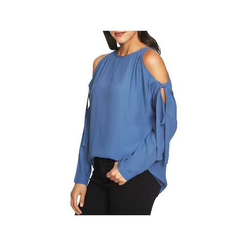1.State Womens Blouse Crepe Cold Shoulder