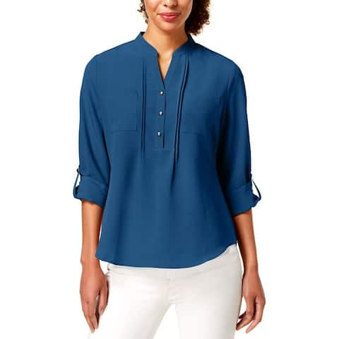 NY Collection Womens Petites Henley Top Pleated Cuffed