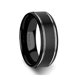 Nocturne Beveled Black Tungsten Carbide Band With Brushed Finish And Polished Grooves