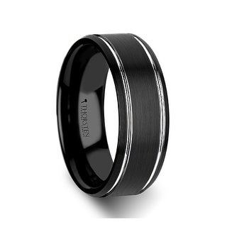Thorsten Beveled Black Tungsten Carbide Band with Brushed Finish and Polished Grooves - 8mm NOCTURNE