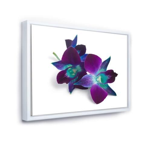 Designart 'Deep Purple Orchid Flowers on White' Flowers Framed Canvas Wall Artwork Print