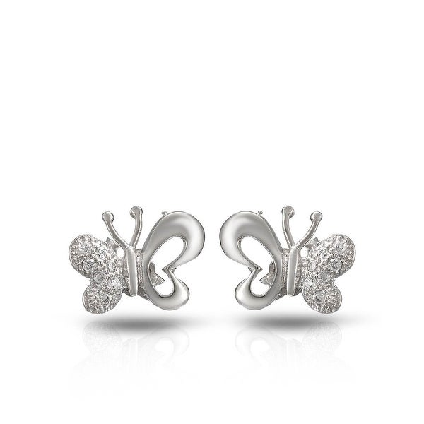 Mcs Jewelry Inc STERLING SILVER 925 BUTTERFLY EARRINGS WITH CUBIC ZIRCONIA 7.8MM
