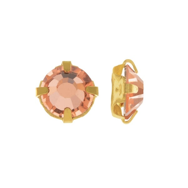 Preciosa Rose Montee Beads, Czech VIVA12 Rhinestones in Cup Settings SS12, 24 Pieces, Crystal Apricot on Gold Plating