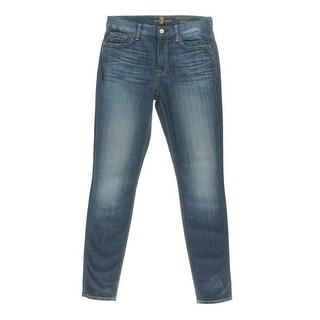 7 For All Mankind Womens Juniors Distressed High Waist Skinny Jeans