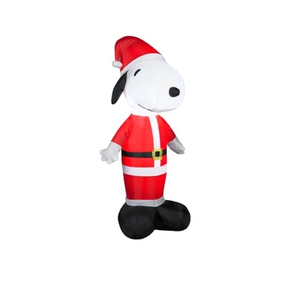 3.5' Inflatable Peanuts LED Lighted Snoopy Santa Claus Christmas Outdoor Decoration