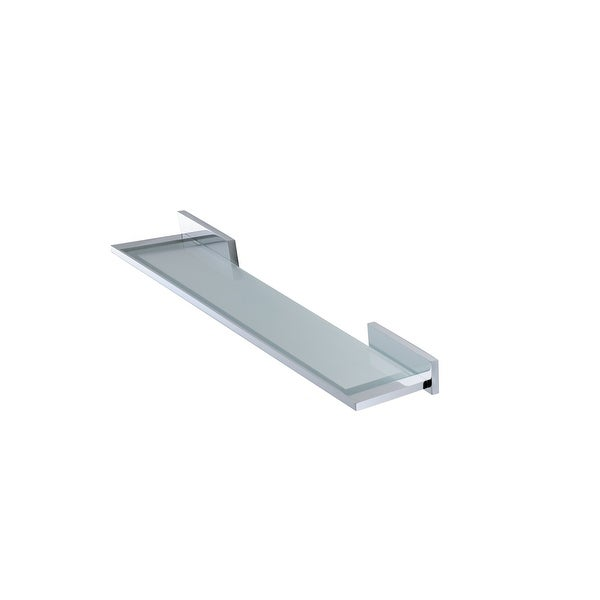 """WS Bath Collections Carmel 2670 23"""" Modern Frosted Glass Wall Mounted Bathroom Shelf - Polished Chrome"""