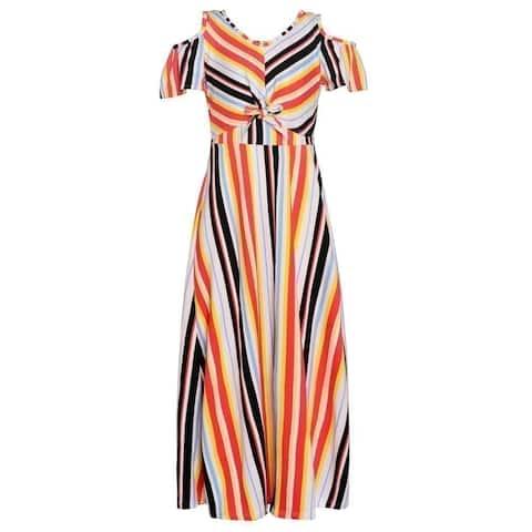Girls Coral Stripe Pattern Cold Shoulder Knot Tie Detail Easter Dress