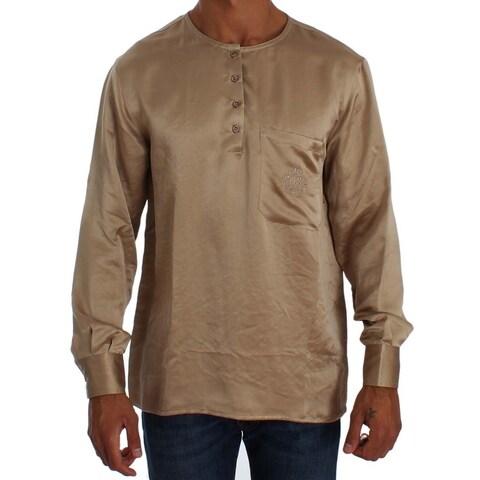 Ermanno Scervino Ermanno Scervino Beige Shiny Silk Casual Henley Shirt - it48-m