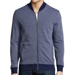 Michael Kors NEW Blue White Men Size Large L Full Zip Full-Zip Sweater