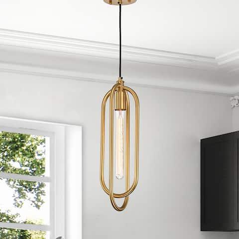 Pristin Gold Abstract Open Metal Frame 1-Light Pendant Light