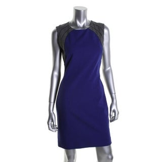 Diane Von Furstenberg Womens Hallie Colorblock Sleeveless Wear to Work Dress