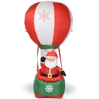 Costway 6' Christmas Decoration Inflatable Santa Claus Hot-air Balloon Lighted Outdoor - as pic
