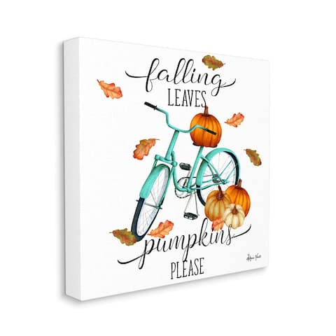 Stupell Industries Falling Leaves Pumpkins Please Autumn Bicycle Canvas Wall Art - Multi-Color