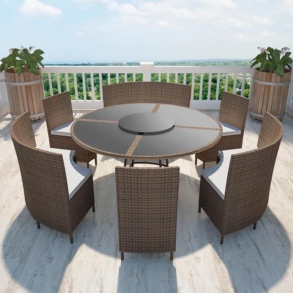 Vidaxl Outdoor Dining Set Poly Rattan Table Bench Chair 13 Piece Wicker Brown Overstock 27887275