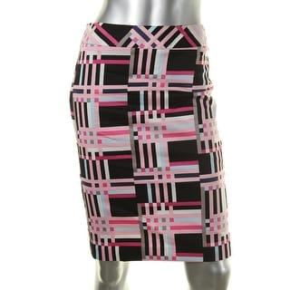 Nine West Womens Poplin Printed Pencil Skirt