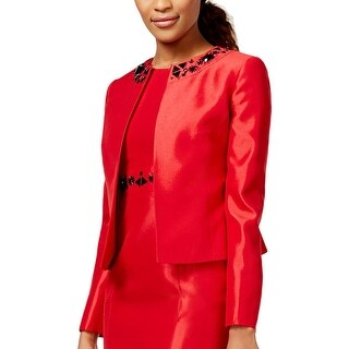 Kasper Womens Petites Oxford Blazer Shantung Embellished