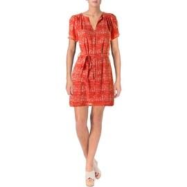 Aqua Womens Juniors Short Sleeves Mini Casual Dress - XS