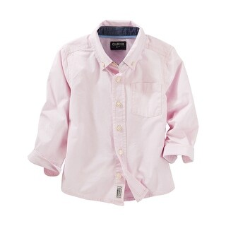 OshKosh B'gosh Big Boys' Button Down Dress Shirt- Pink - 14 Kids