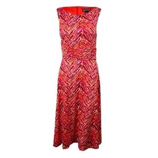 Jessica Howard Woman's Printed Sleeveless Jersey Dress - Red Multi - 8