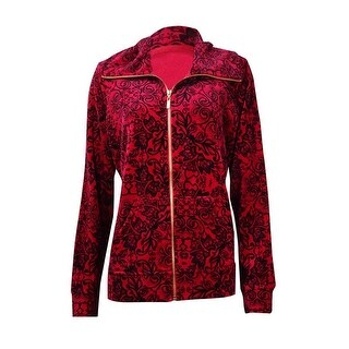 Style & Co. Women's Printed Velour Zip Jacket - prussian red