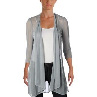 R&M Richards Womens Cardigan Top Sheer 3/4 Sleeves